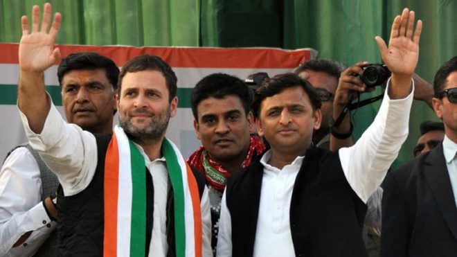 Kanpur: Congress vice president Rahul Gandhi and Uttar Pradesh Chief Minister Akhilesh Yadav during a rally ahead of Uttar Pradesh Assembly polls in Kanpur on Feb 5, 2017. (Photo: IANS)