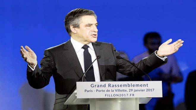 French presidential candidate Francois Fillon accuses rival party for wife's scandal