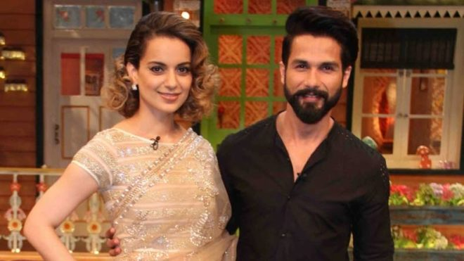 Mumbai: Actors Kangana Ranaut and Shahid Kapoor during the promotion of film Rangoon in Mumbai on Feb 9, 2017. (Photo: IANS)