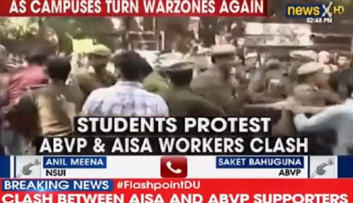 Ramjas College: Violent clashes break out between AISA-ABVP over invite to JNU students Umar Khalid, Shehla Rashid
