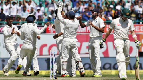 Half of Aussies play 'dead bat' in pavilion as India goes for the kill in Dharamsala