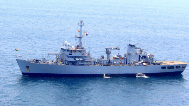 INS Darshak conducting joint survey of Sri Lankan bay