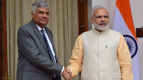 New Delhi: Prime Minister Narendra Modi receives his Sri Lankan counterpart Ranil Wickremesinghe and his wife Maithree Wickremesinghe at Hyderabad House in New Delhi on Oct 5, 2016. (Photo: IANS)