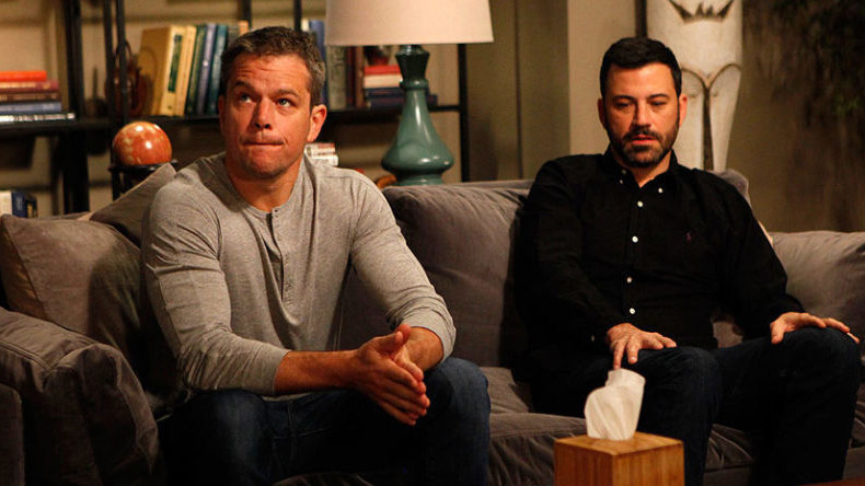 TV host Jimmy Kimmel along with actor Matt Damon make fun of United Airlines