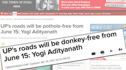 Facepalm! Yogi Adityanath promises pothole-free UP; journalists 'misread' it as donkey-free UP