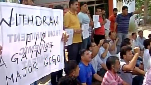 J&K: Panthers Party holds demonstration in support of Major Leetul Gogoi, demand to withdraw FIR against the officer