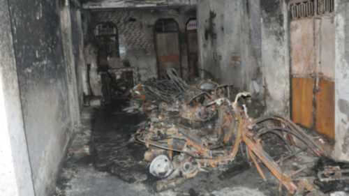 New Delhi: A view of the house where four members of a family were killed in a fire that broke out in Dilshad Colony area of Seemapuri, in north Delhi on July 7, 2017.(Photo: IANS)