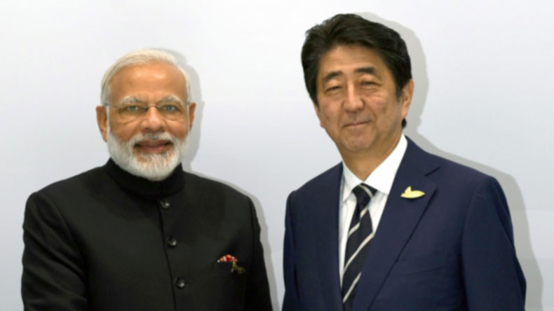 Hamburg: Prime Minister Narendra Modi meets Japan Prime Minister Shinzo Abe, on the sidelines of the 12th G-20 Summit in Hamburg, Germany on July 7, 2017. (Photo: IANS/PIB)