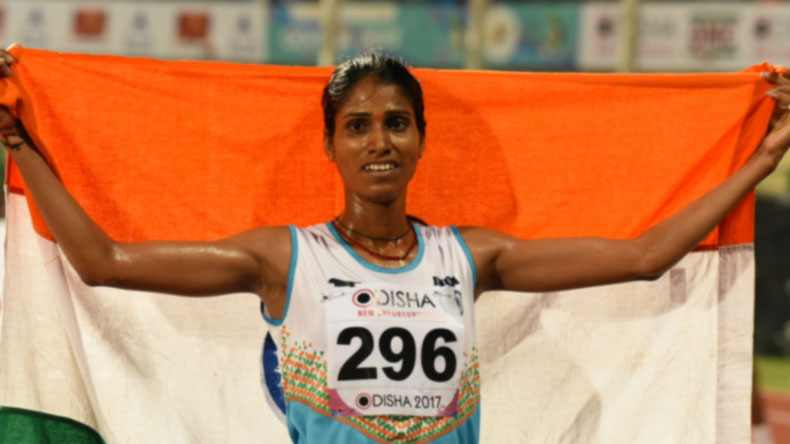 Bhubaneswar: Indian athlete Sudha Singh celebrates after winning gold in the women's 3,000 metre steeplechase event during Asian Athletics Championship at Kalinga Stadium in Bhubaneswar on July 8, 2017. (Photo: IANS)