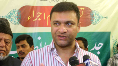 Hyderabad: MIM leader Akbaruddin Owaisi addresses during a programme organised in Hyderabad on June 6, 2015. (Photo: IANS)