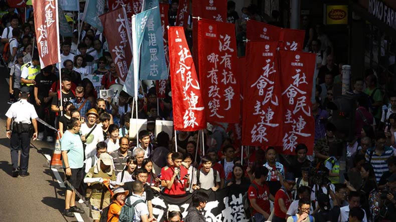 Activists protest jail sentences in HK