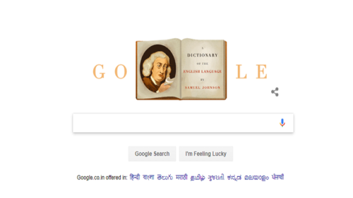 Google celebrates 308th birthday of lexicographer Samuel Johnson with a doodle