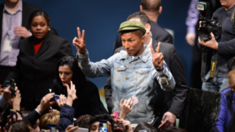 Pharrell Williams exfoliates 'like a madman'