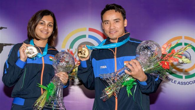 Jitu, Heena clinch gold in Air Pistol Mixed team event