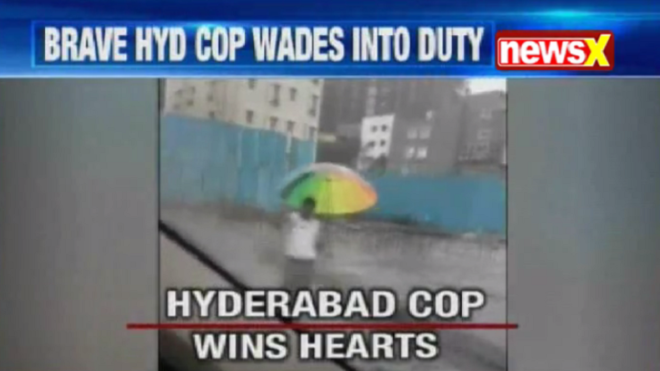 Video: Hyderabad cop guiding traffic in knee-deep water applauded on internet