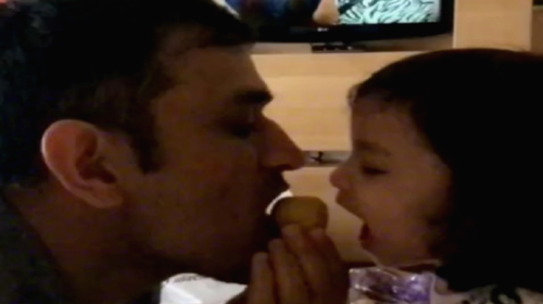 Watch! MS Dhoni and daughter Ziva attack a besan ka ladoo