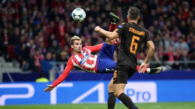 Watch: Atletico Madrid's Antoine Griezmann ends his goalless drought in some acrobatic style!