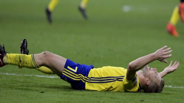 Watch! Excited Swedish players destroy on-field TV studio following World Cup qualification