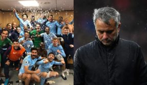 Manchester United and City players' dressing room brawl leaves Mourinho soaked and City coach injured