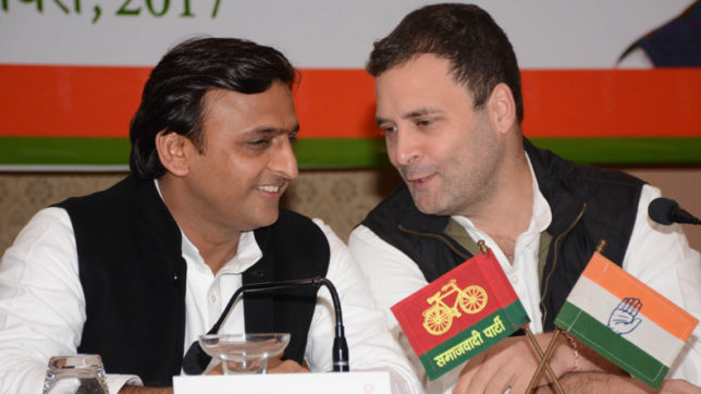 Congress vice president Rahul Gandhi and Uttar Pradesh Chief Minister Akhilesh Yadav. (File Photo: IANS)
