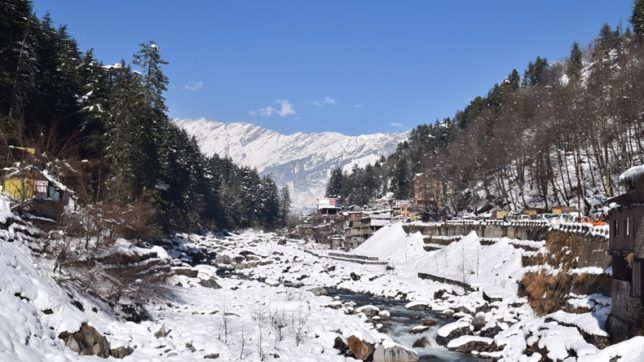 Manali: A view of Manali after snowfall on Jan 12, 2017. (Photo: IANS)