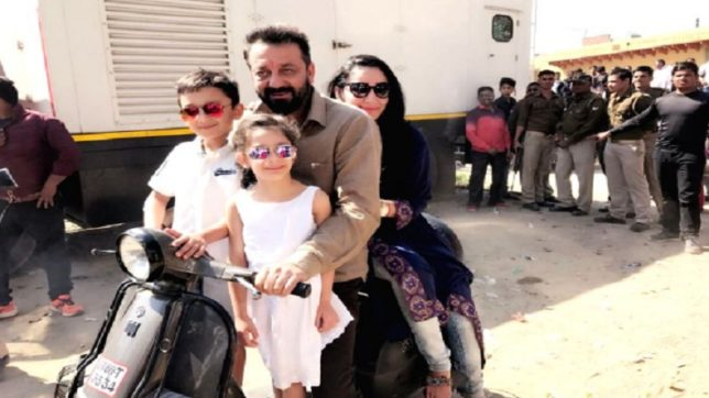 Actor Sanjay Dutt enjoys scooter ride with family in Agra