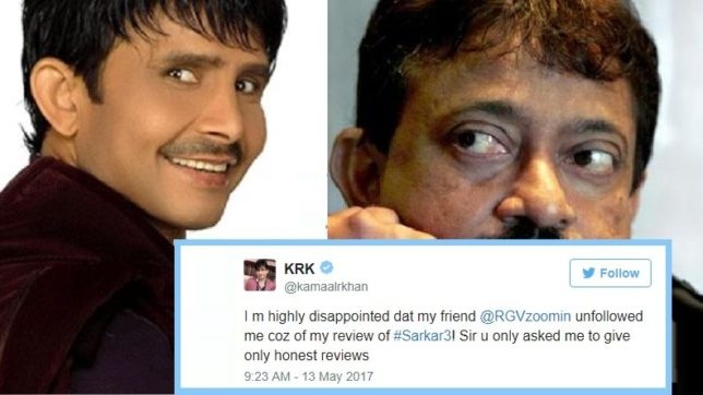 KRK suggests RGV to retire in 'Sarkar 3' review; the latter unfollows him on Twitter