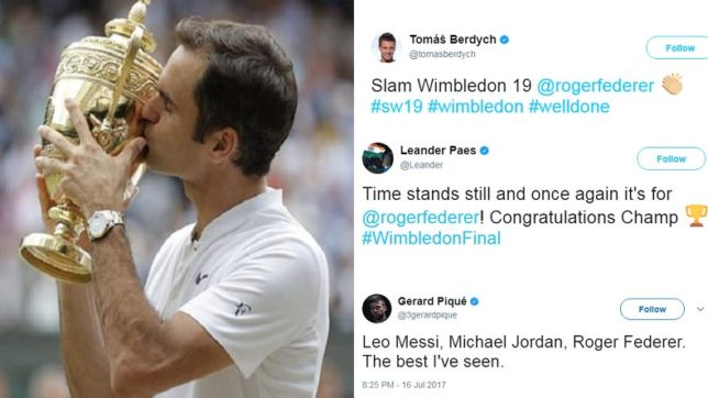 Sporting world reacts to Roger Federer's incredible Wimbledon triumph