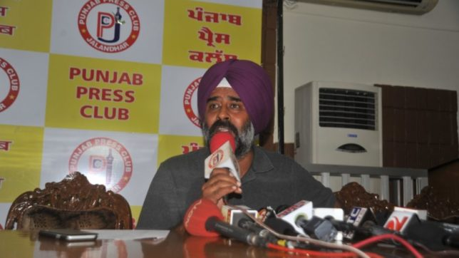 Amritsar: Shiromani Akali Dal (SAD) MLA from Jalandhar Pargat Singh talks to press after the party President and Punjab Deputy Chief Minister Sukhbir Singh Badal suspended him from the party for Anti-parties activity in Amritsar on July 20, 2016. (Photo: IANS)