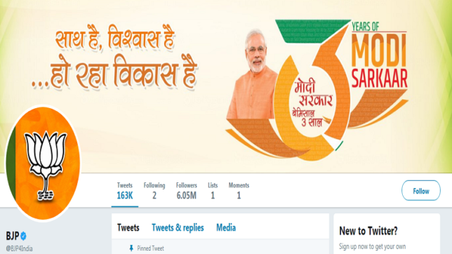 BJP Twitter account now has over 60 lakh followers