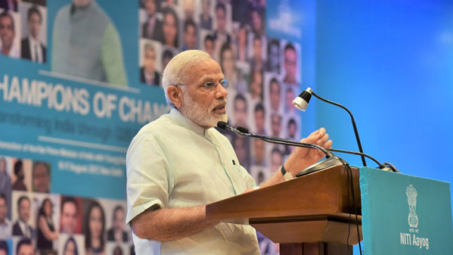 New Delhi: Prime Minister Narendra Modi addresses the young entrepreneurs at the Champions ofChange programme organised by the NITI Aayog in New Delhi on Aug 17, 2017. (Photo: IANS/PIB)