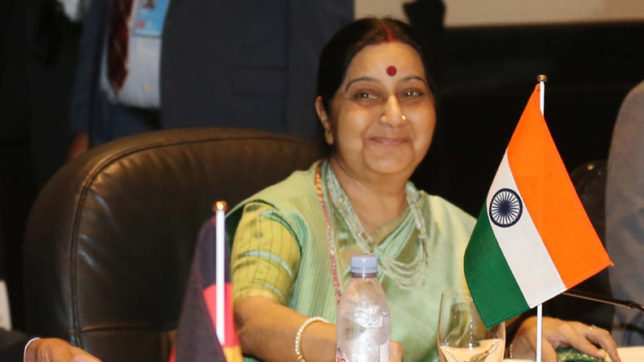 Sushma meets US Secretary of State, raises H1-B issue