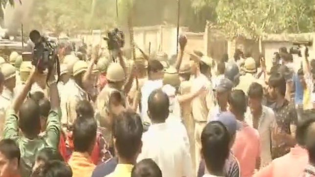 Gurugram school murder: Angry protestors set ablaze liquor shop; police resorts to lathi charge