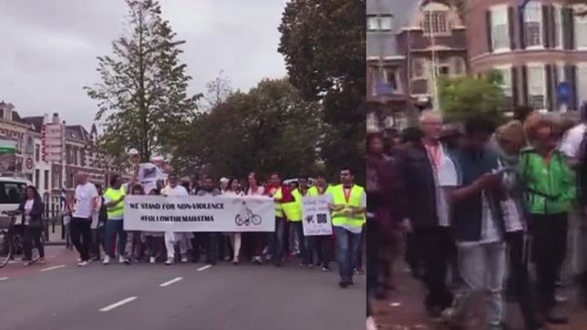 Gandhi Jayanti 2017: People participate in 'Follow the Mahatma' campaign in The Hague, Netherlands