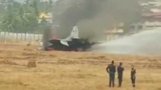 MiG-29 fighter aircraft catches fire at Goa Airport, runway shut for an hour
