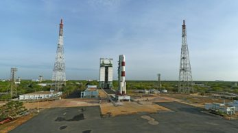 Sriharikota: Panaromic view of fully integrated PSLV-C38 seen with Mobile Service Tower. ISRO's PSLV successfully launched multiple satellite into orbit from Sriharikota, Andhra Pradesh on June 23, 2017. ISRO successfully put into orbit its own earth observation satellite Cartosat, nano satellite NIUSAT and 29 foreign satellites from 14 countries. (Photo: IANS/ISRO)