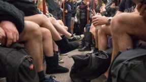 Commuters participate in 'No Pants Subway Ride' in Jerusalem, New York and London