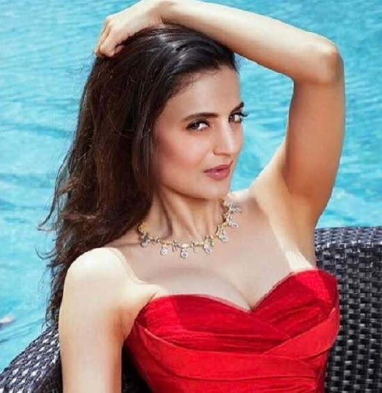 Ameesha Patel pretty in  red-cold shoulder  dress