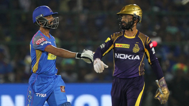 Dinesh karthik, Ajinkya Rahane, Kolkata Knight Riders, KKR, Rajasthan Royals, Indian Premier League, Ipl 2018, 2018 Indian Premier League, IPL, IPL news, cricket, Rajasthan Royals vs Kolkata knight Riders, Sports, sports news