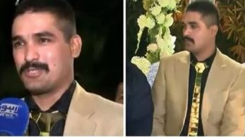Pakistan, Pakistani groom, gold outfit, gold tie, gold shoes, Lahore, wedding reception, gold obsession, Pakistani rupees, gold, Pakistani wedding, offbeat news, world news