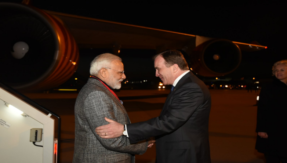 Swedish Prime Minister Stefan Lofven receives PM Narendra Modi at Stockholm