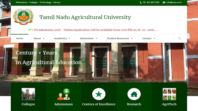 TNAU Admission 2018: Apply online for various UG programmes at tnau.ac.in from 3:00 PM today