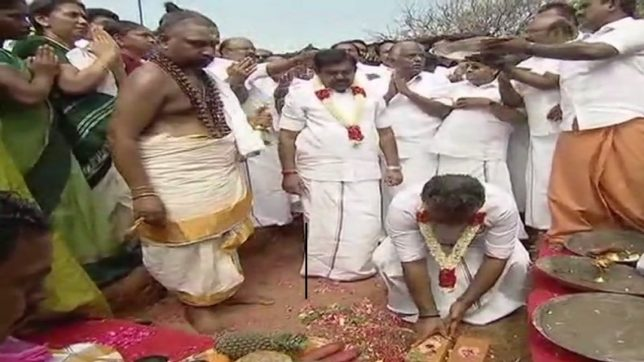 EPS and OPS lay foundation stone for Amma's memorial