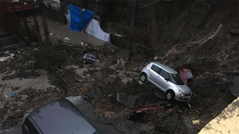 Mumbai rains: 7 cars damaged as under-construction wall collapses in Wadala's Antop Hill