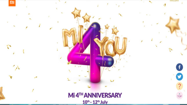 Xiaomi 4th Mi anniversary sale starts from today: Rs 4 sale, Blink and Miss deals and other offers you need to know