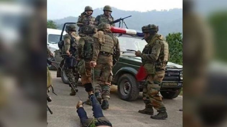 Indian Army, Kashmir, Militancy, Indian Army drags militant, Jammu and Kashmir, Southwest Kashmir, dead militant pulled by chains