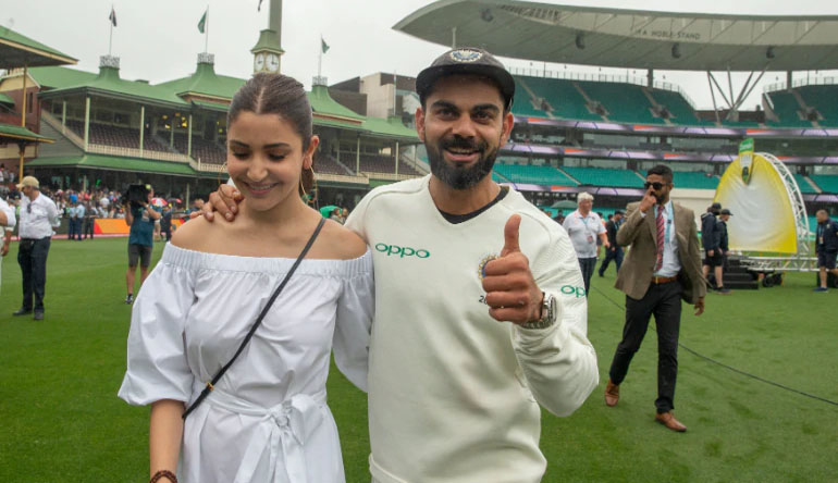 Virat Kohli celebrations with anushka Sharma, Virat Anushka, India, Australia, Virat Kohli, Australia vs India 2018/19, Cricket, Cheteshwar Arvind Pujara,
