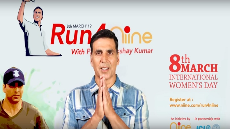 Run4Niine, International Women's Day, Akshay Kumar, Niine Sanitary Napkins, menstrual hygiene, Niine Movement