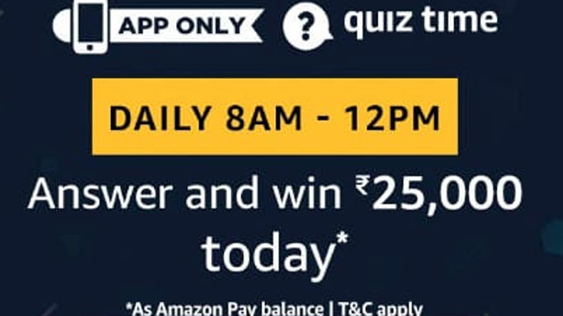 Amazon Quiz, Amazon Quiz today, Friday, March 22 2019, Amazon Quiz questions and answer, Rs 25,000 Amazon Pay Balance, Amazon Quiz winning Prize, Amazon Quiz winner prize