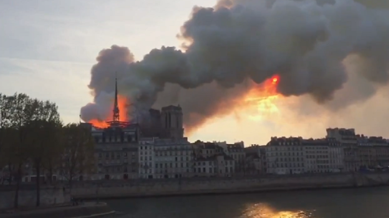 Iconic Notre Dame Cathedral on fire in Paris